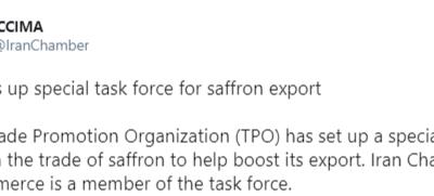 اتاق بازرگانی ایران خبر داد: گروه ویژه صادرات زعفران ایران تشکیل میشود/ این گروه با همکاری اتاق ایران و سازمان توسعه تجارت تشکیل خواهد شد